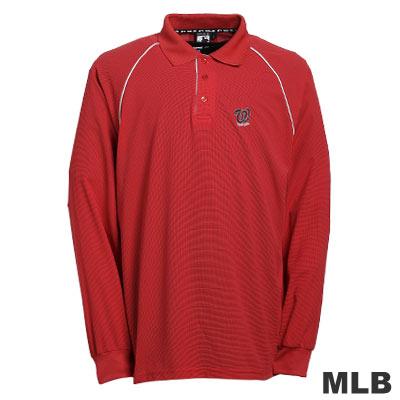 MLB-華盛頓國民隊LOGO排汗POLO衫-紅(男)