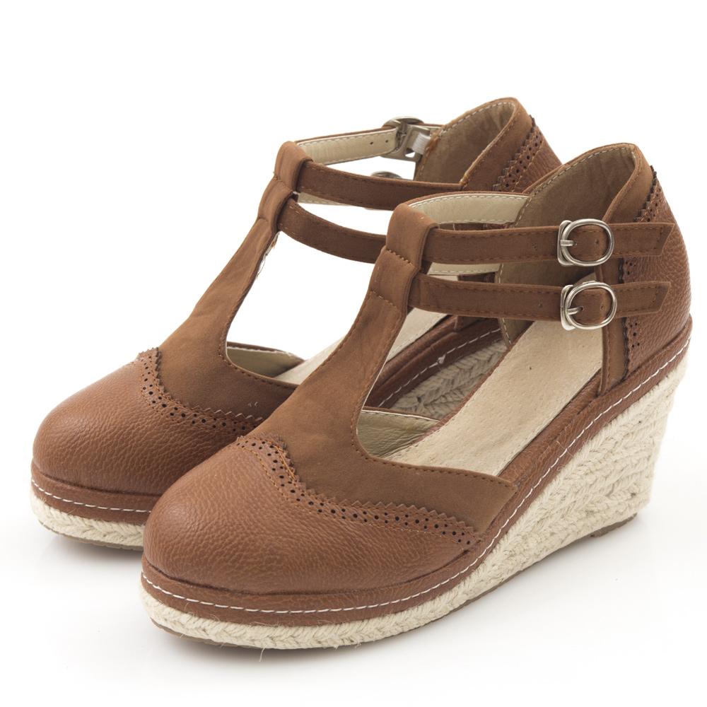 JMS-學院風異材質拼接素面雙扣楔型娃娃鞋-咖啡色