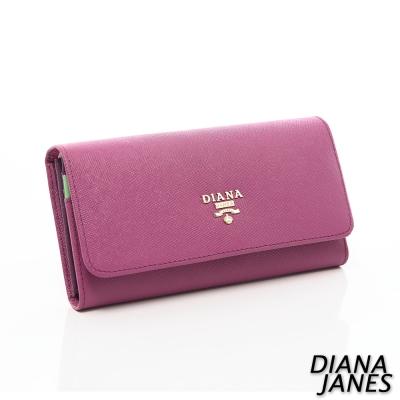 Diana-Janes-牛皮十字紋多層女夾-紫