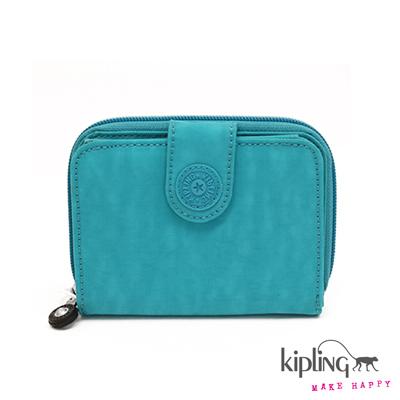 Kipling-短夾-亮彩藍綠素面