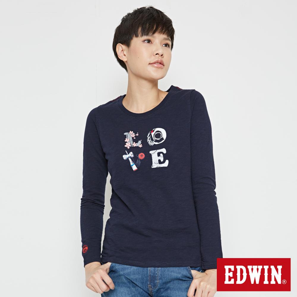 EDWIN EDO KATSU 江戶勝LOVE長袖T恤-女-丈青