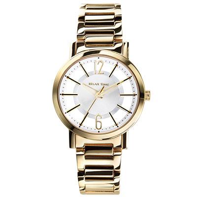 RELAX TIME 輕熟奢華風格鏤空錶款-白x金/36mm