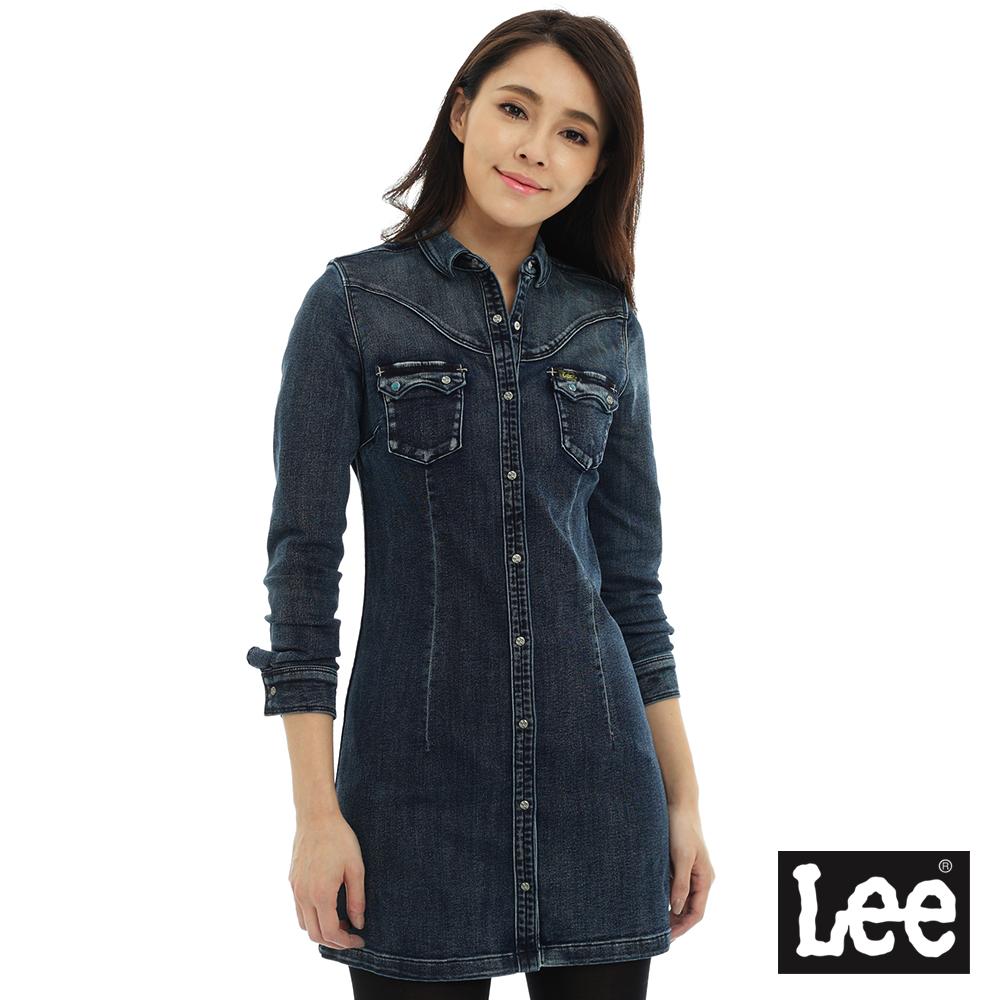Lee 長袖修身牛仔洋裝/101+-女款-藍色
