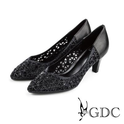 GDC-三角水鑽縷空拼接真皮尖頭高跟鞋/婚鞋-黑色