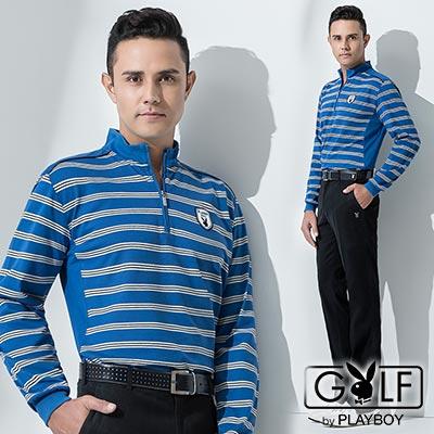 PLAYBOY-GOLF-經典立領修身拼接橫條POLO衫-藍-AA13221-55
