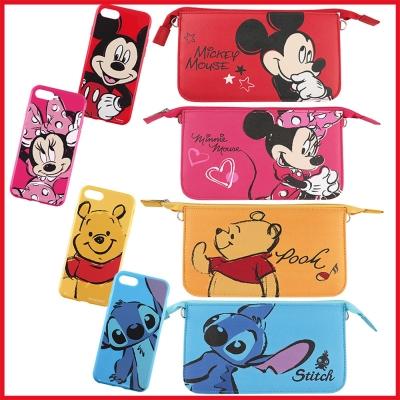 Disney迪士尼迪士尼iPhone 8/7(4.7吋)彩繪軟套+手機袋禮盒-大...