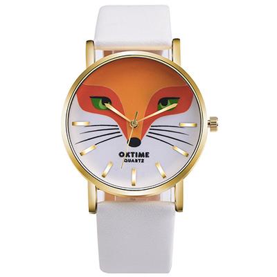 Watch-123 狐狸方程式-可愛動物個性創意學生手錶-白色/36mm