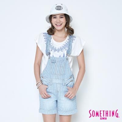 SOMETHING 條紋吊帶短褲-女-重漂藍