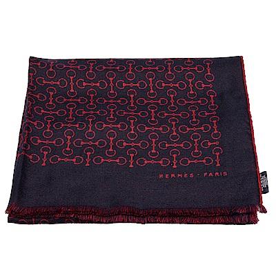 HERMES Mors Ajoure鉤釦圖案羊絨混絲長型披巾/圍巾(紅X藍)