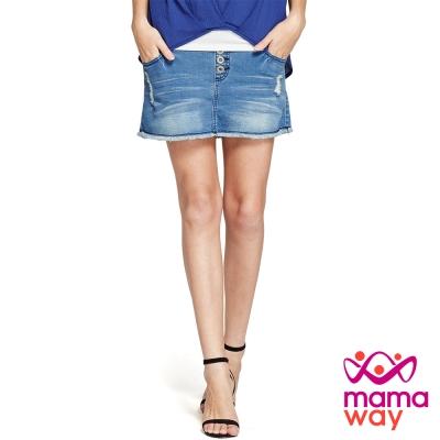 孕婦褲 褲裙 牛仔裙 孕期磨破鬚邊牛仔褲裙 Mamaway
