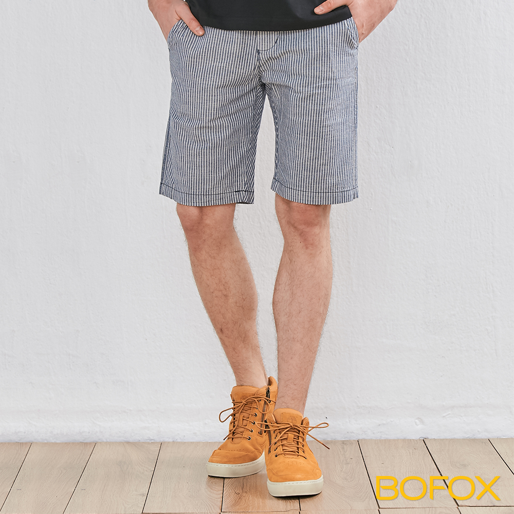 BOFOX 直條紋休閒短褲-藍