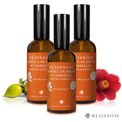 BLOSSOM 黃金摩洛哥山茶花柔絲潤澤修護髮油(100ML/瓶) 3入組
