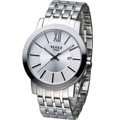 VOGUE 低調簡約時尚腕錶-銀白/40mm