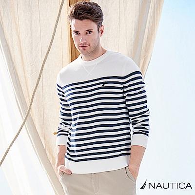 Nautica清新海洋風條紋針織衫 -白