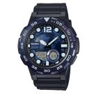 CASIO 悍將世界地圖玩家潛水風格雙顯運動錶(AEQ-100W-2A)-藍/47.7mm