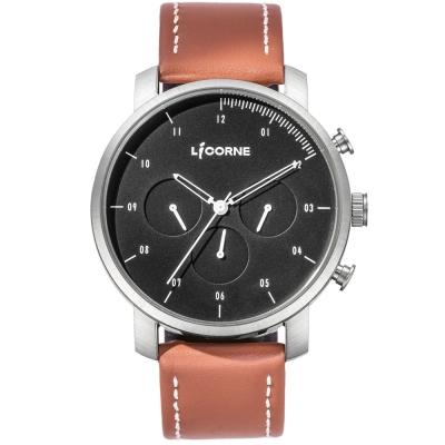 LICORNE MYO系列 精工品味三眼手錶-黑x咖啡/45mm