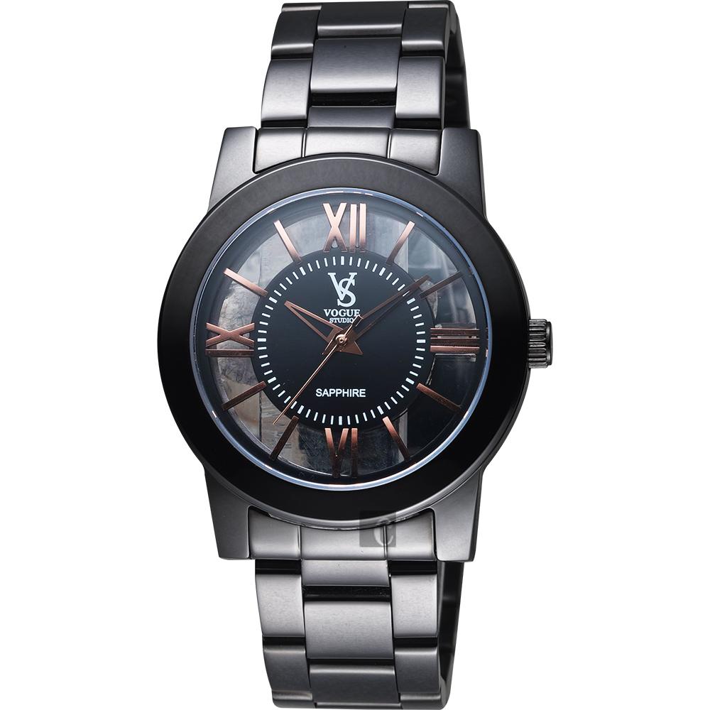 VOGUE 曼波系列鏤空藝術腕錶-玫塊金時標x黑/38mm