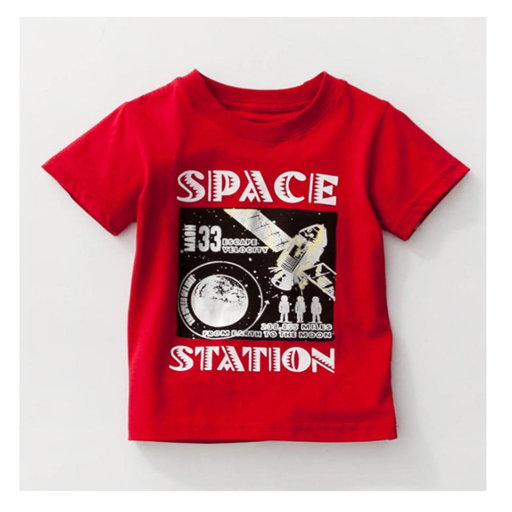 歐美春夏純棉兒童短T-太空站