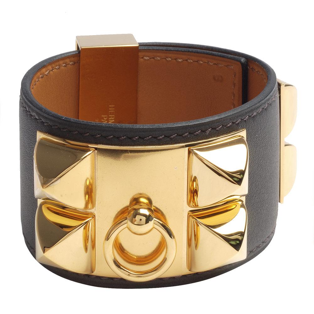 HERMES collier de chien金屬鉚釘山羊皮寬版手環(S-墨灰X金-R年)