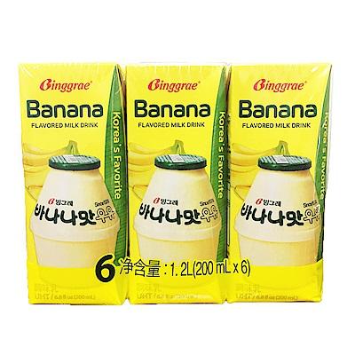 韓味不二 BINGGRAE香蕉牛奶(調味乳)(200mlx6瓶)