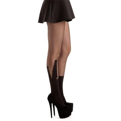 摩達客Pamela Mann英國進口義大利製 鱷魚嘴圖紋透明絲襪網襪彈性褲襪
