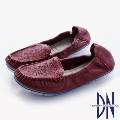 DN-舒適甜美-柔軟牛皮玫瑰雕花懶人休閒鞋-紅
