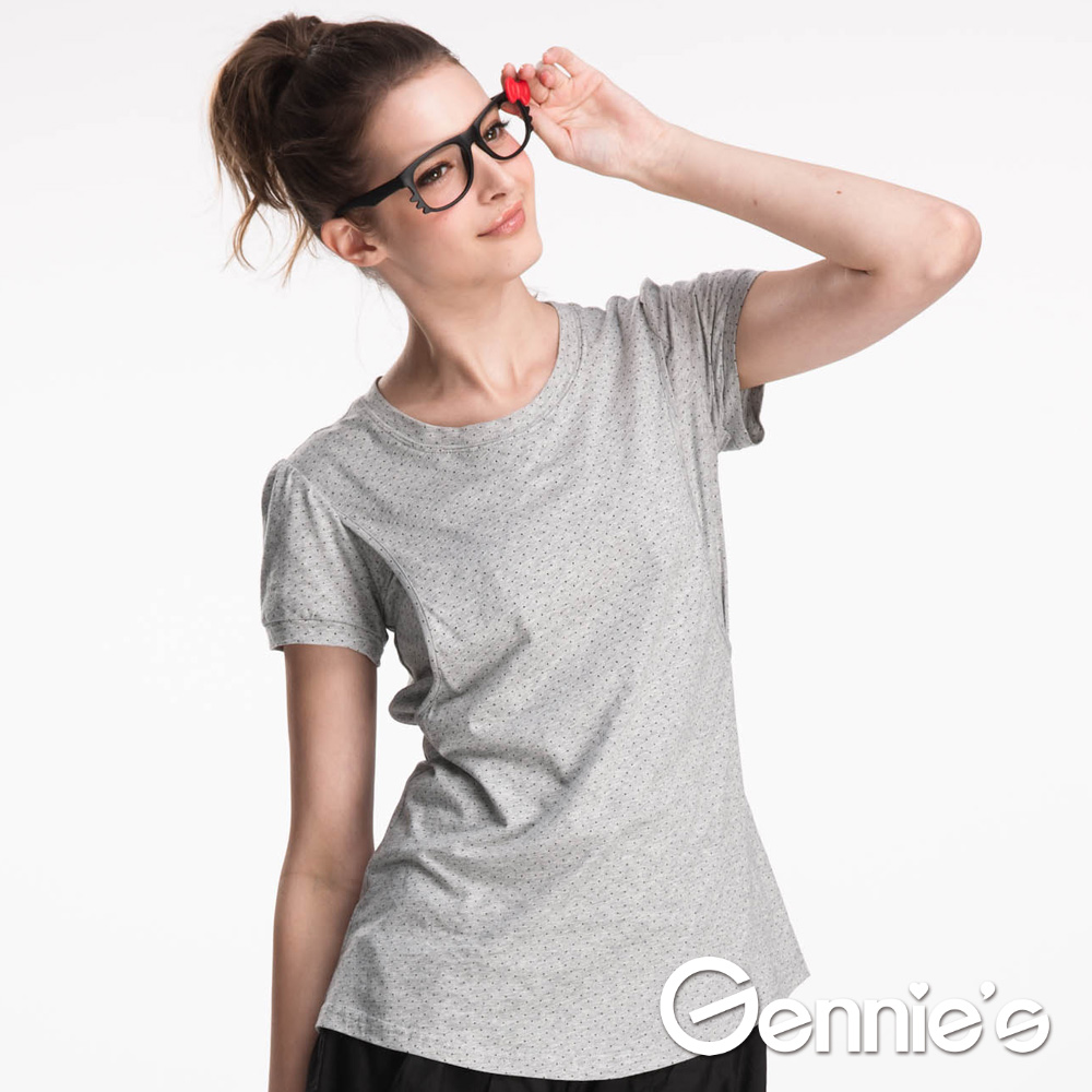 Gennie's奇妮-簡約休閒點點春夏哺乳上衣(GNA97)