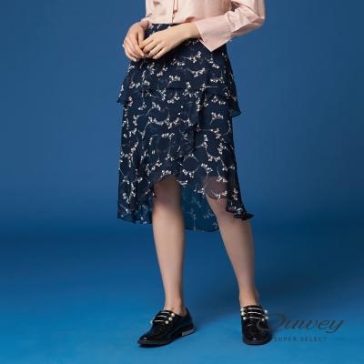 OUWEY歐薇 優雅剪接層次荷葉裙(藍)