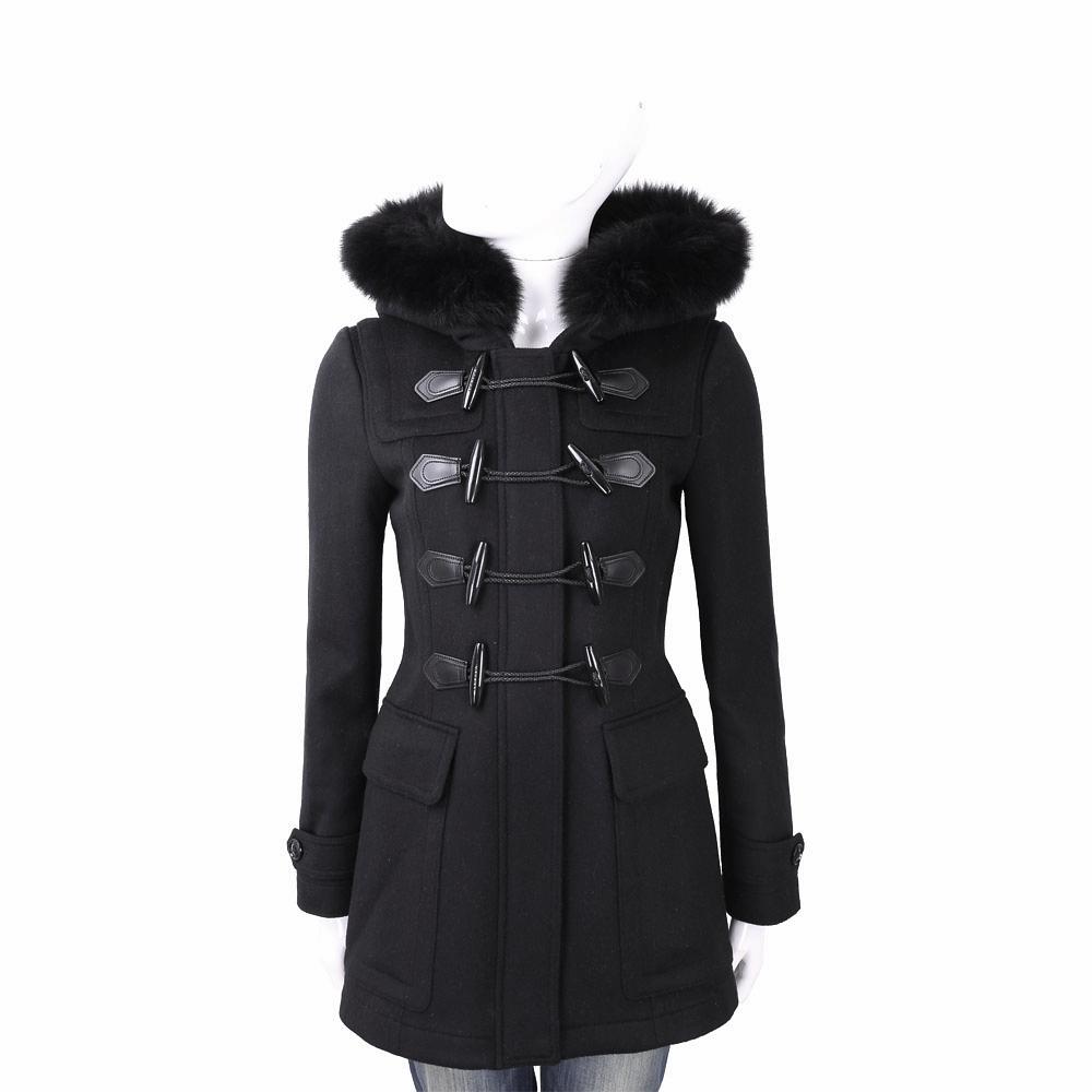BURBERRY 可拆式皮草黑色連帽牛角扣羊毛大衣