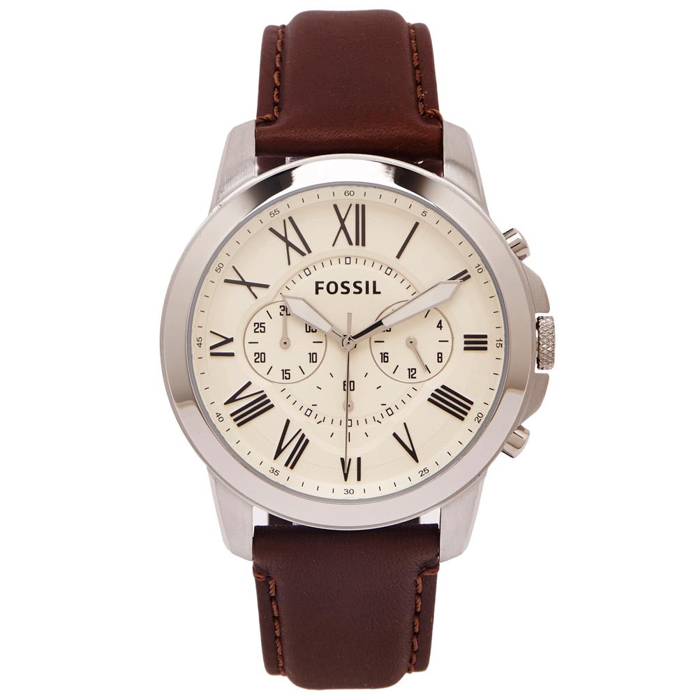 FOSSIL  羅馬優雅風計時的皮帶手錶(FS4735)-淡黃色面/44mm