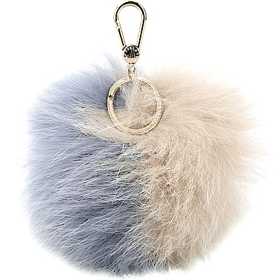 FURLA BUBBLE 雙色狐狸毛球吊飾/鑰匙圈(藍x泥灰)