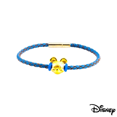 Disney迪士尼金飾 夢想米奇黃金皮繩手鍊-海水藍