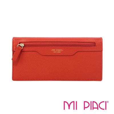 MI PIACI-Jet Set 系列-全皮長錢夾-1086258-橘色