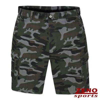 ZENO 彈力率性迷彩多袋短褲‧灰綠M~3L