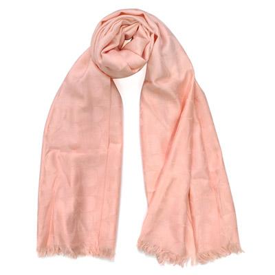 COACH粉色C Logo羊毛混絲寬版長圍巾(167x61)