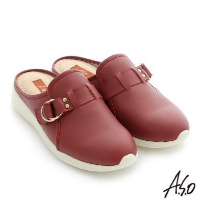 A.S.O 輕量休閒 真皮飾釦奈米後空懶人鞋 正紅色
