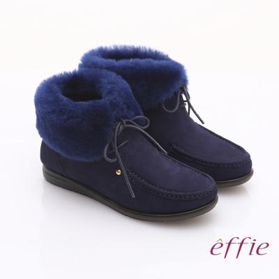 effie 心機美型 真皮羊毛滾邊奈米短筒雪靴 深藍