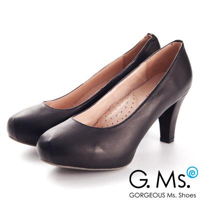 G.Ms.推薦通勤鞋‧靜音鞋跟真皮厚底粗跟包鞋‧黑