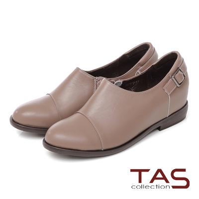 TAS 質感素面皮帶扣低口牛津鞋-質感可可