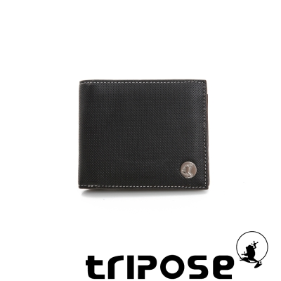 tripose Yuppie系列格紋三摺男短夾 -  黑