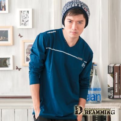 Dreamming 時尚簡約萊卡彈力長袖V領T-共二色