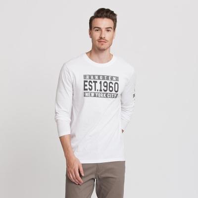 Hang Ten - 男裝 - 有機棉 1960美式圖章T恤 - 白