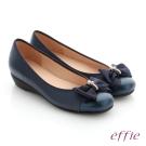 effie 舒適通勤 真皮蝴蝶結彈力圓頭低跟鞋 藍色