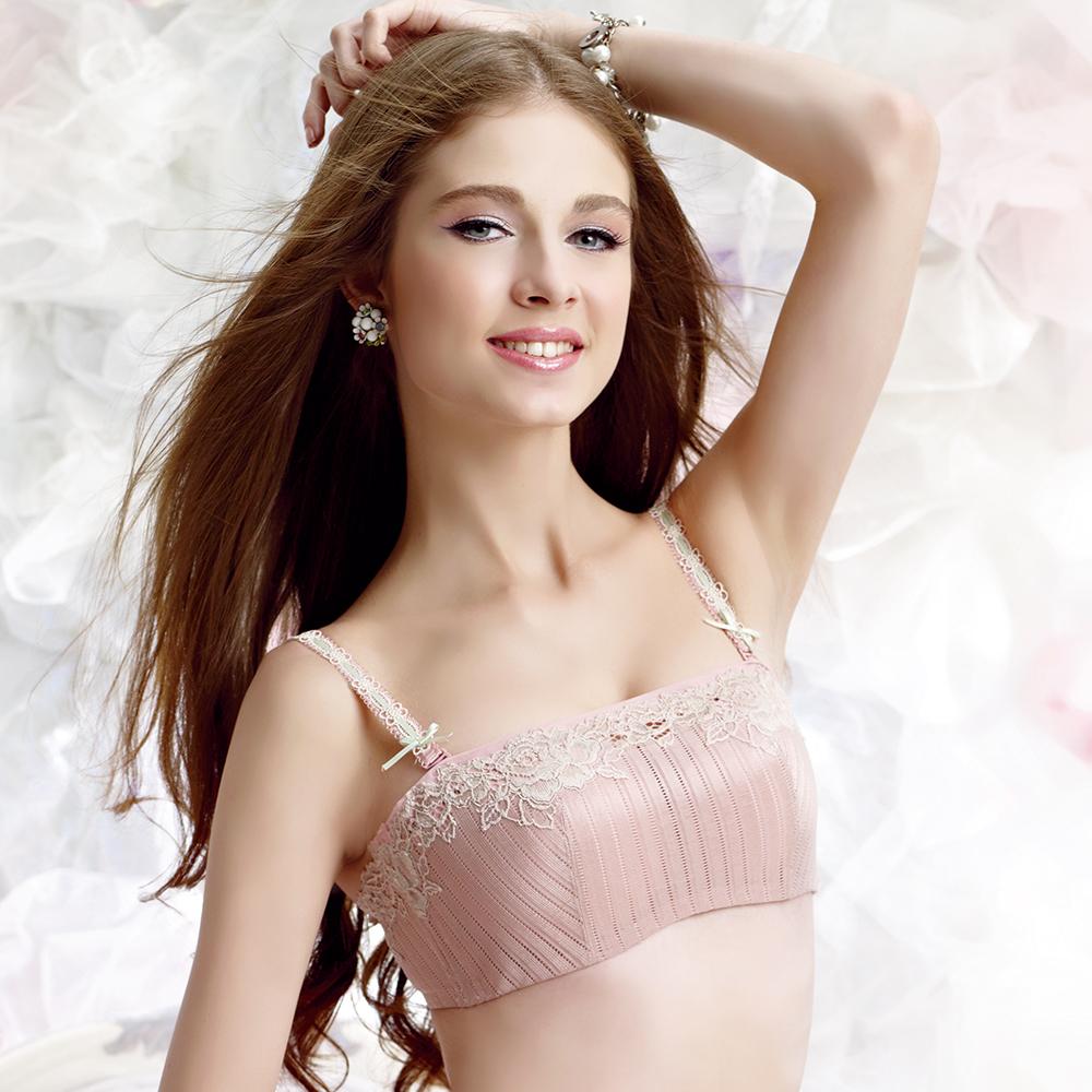 羅絲美內衣- 戀上甜心剪接款抹胸B-C罩杯內衣 (嫩粉)