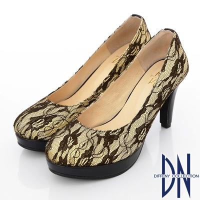 DN-優雅仕女-MIT法式鏤花蕾絲高跟鞋-黃