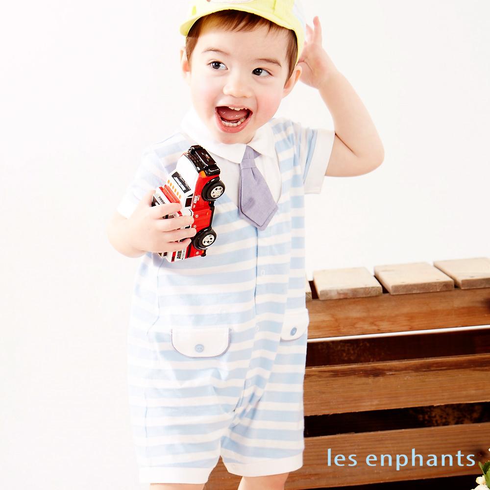 麗嬰房les enphants baby經典條紋假兩件連身裝水藍色