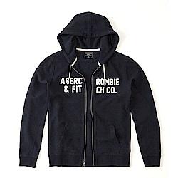 A&F 經典刺繡文字連帽外套-深藍色 AF Abercrombie