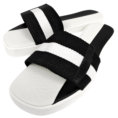 BALLY 黑白織帶厚底涼鞋-38.5/39.5號