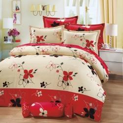 艾莉絲-貝倫 滿庭花香 100%純棉 單人鋪棉兩用被床包三件組