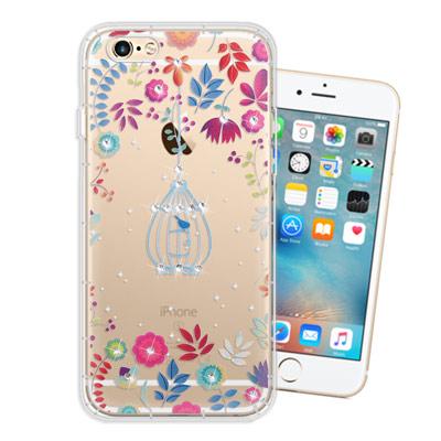 WT iPhone 6s / 6 4.7吋 奧地利水晶彩繪空壓手機殼(鳥羽花萃)